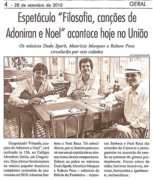 """Photo of Espetáculo """"Filosofia, canções de Adoniran e Noel"""" acontece hoje no União"""
